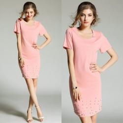 Dress4206 เดรสทรงสวยสีพื้นชมพู ประดับมุกสวยหรูดูแพง ผ้าคอตตอนโพลีเนื้อหนาสวยมีน้ำหนักยืดขยายได้เยอะ งานดีทรงดีผ้าสวยเหมือนราคาหลักพัน ใส่ทำงาน/ออกงานได้