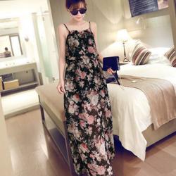 Maxi Dress เดรสยาว ทรงสายเดี่ยว เนื้อผ้าชีฟองลายดอก สีดำ เก๋ๆ พร้อมส่งน๊า