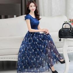 Dress4141 Maxi Dress แม็กซี่เดรสยาวสีพื้นตัดต่อกระโปรงลายดอกไม้โทนสีน้ำเงิน มีซับใน ซิปข้างใส่ง่าย ผ้าชีฟองเนื้อดีนุ่มทิ้งตัวสวย งานดีทรงดี ใส่ออกงานได้