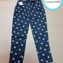 trousers428 กางเกงขายาวเอวยืด กระเป๋าข้าง ผ้าคอตตอนเนื้อนิ่มยืดได้ ลายกระต่ายสีเทา