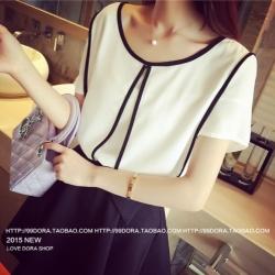 เสื้อแฟชั่น ซีทรู สีขาว แต่งขลิบสีดำ น่ารัก พร้อมส่ง