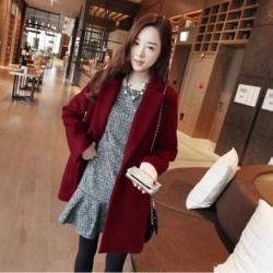 เสื้อโค้ทกันหนาว สไตล์เกาหลี ทรง Classic ผ้าสำลีเนื้อเบา ไม่หนา บุซับในกันลม สีไวน์แดง พร้อมส่ง