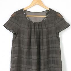 เสื้อชีฟองลายตาราง NATURAL BEAUTY BASIC