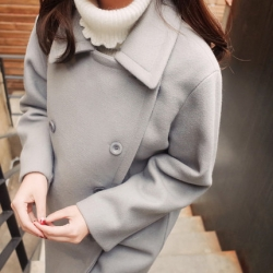 เสื้อโค้ทกันหนาว สไตล์เกาหลี หวานๆ ดีไซน์หรู งานดี ใส่ได้หลายแบบ ผ้าวูลเนื้อละเอียด บุซับในกันลม