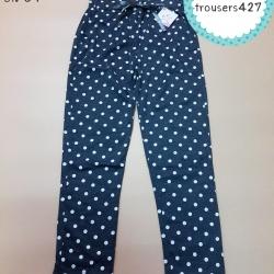 trousers427 กางเกงขายาวเอวยืด กระเป๋าข้าง ผ้าคอตตอนเนื้อนิ่มยืดได้ ลายจุดสีเทา