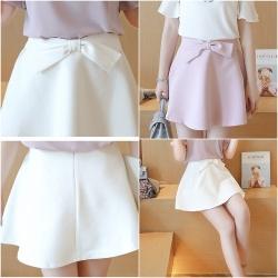 Skirt312 กระโปรงแฟชั่นเกาหลี กระโปรงแต่งโบว์เอวซิปหลัง ซับในกางเกง ผ้าหนาสวยเนื้อดีมีน้ำหนักเรียบอยู่ทรง **งานเหลือสีชมพูสีเดียวจ้า