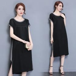 Dress4062 Big Size เดรสยาวทรงปล่อยไซส์ใหญ่สีพื้นดำแต่งขอบสีเทาเมทัลลิค ผ้าซาร่าเนื้อหนาเงาสวยมีน้ำหนักทิ้งตัว ผ้านุ่มใส่สบายมาก งานดีเหมือนราคาหลักพัน แบบสวยเรียบหรูใส่ได้ทุกโอกาส
