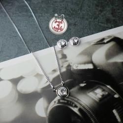 ชุดเครื่องประดับชุบทองคำขาว18Kจี้คริสตัลฐานกลม