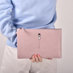 กระเป๋าคล้องมือหนัง ใบใหญ่ สีชมพู แนวๆเก๋ๆ พร้อมส่ง