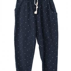 กางเกงแฟชั่นขายาวสีกรมท่าลายดาว
