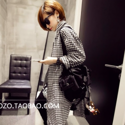 เสื้อคลุมตัวยาว เกาหลี ผ้าฝ้าย พิมพ์ลายตาราง มีกระดุมหน้า + กระเป๋าข้าง พร้อมส่งจ้า