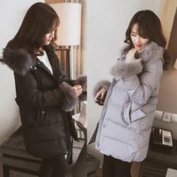 เสื้อโค้ทกันหนาว ตัวยาว ประดับเฟอร์ ที่คอฮู้ดและปลายแขน ผ้าร่มเนื้อดีกันลม กระดุม+ซิปหน้า เกาหลีมากๆ