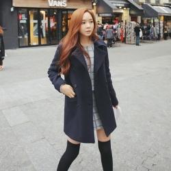 เสื้อโค้ทกันหนาว รุ่นกระดุม 2 แถว สไตล์เกาหลี ผ้าวูลผสม พร้อมส่ง
