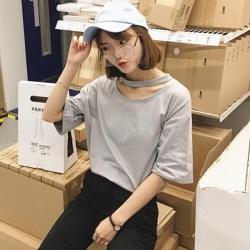 เสื้อแฟชั่น สีเทา แต่งคอ สไตล์เกาหลีใส่ออกมาแล้วแนวมากจ้า พร้อมส่งน้า