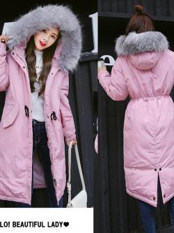 เสื้อกันหนาวฮู้ดดี้ ทรงยาว แต่งเฟอร์หนาฟู งานเกรดดีเหมือนแบบ บุนวมหนา อุ่นมาก หิมะก็เอาอยู่ (ถอดขนถอดฮู้ดได้)