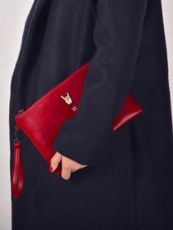 กระเป๋าคล้องมือหนัง ใบใหญ่ สีแดง แนวๆเก๋ๆ พร้อมส่ง