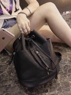 กระเป๋าหนังทรงสวย ใส่เป็นเป้ก็ได้ ใส่สะพายข้างก็เก๋ พร้อมส่ง