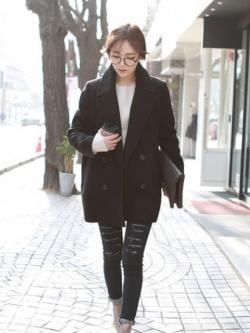 CLASSIC BLACK COAT เนื้อนุ่ม บุซับใน [ เสื้อโค้ท กันหนาว สีดำ ] พร้อมส่ง