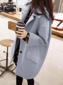 เสื้อโค้ทกันหนาว ทรงเก๋ ไม่เหมือนใคร สีฟ้าอ่อน ผ้าสักหลาดผสมสำลี เนื้อนุ่ม บุซับใน พร้อมส่ง