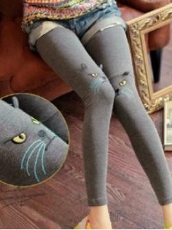 Legging เลกกิ้ง แต่งลายแมวน้อยที่หัวเข่า สีเทาน่ารักมากก พร้อมส่งจ้า