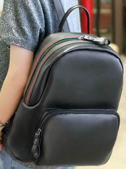กระเป๋าเป้ สไตล์เกาหลี แต่งแถบสีช่วงซิป หนังนิ่ม พร้อมส่ง