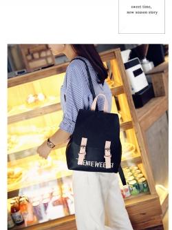 กระเป๋าเป้ สไตล์เกาหลี ลายปัก ทรงน่ารัก สีดำ หนังนิ่ม พร้อมส่ง