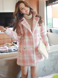 Sweet pink plaid woolen Overcoats โค้ททรงสวย สีชมพูลายสก๊อต น่ารักมาก แบรนด์ RJ STORY แท้ พร้อมส่ง