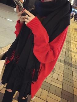 ผ้าพันคอกันหนาว ไหมพรมเนื้อเรียบ นุ่ม เกาหลี สีดำ พร้อมส่ง