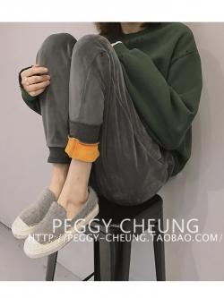 กางเกงขายาวผ้าขนกันหนาว สีเทา ขนสั้นทั้งด้านในและด้านนอก อุ่นและนุ่มมากๆๆๆๆ ทรงสวย