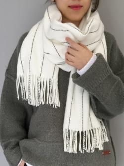 ผ้าพันคอกันหนาว ผ้าคลุมไหล่ วินเทจ สีขาว เข้าได้กับทุกชุด พร้อมส่ง