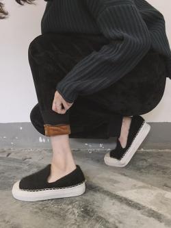 กางเกงขายาวผ้าขนกันหนาว สีดำ ขนสั้นทั้งด้านในและด้านนอก อุ่นและนุ่มมากๆๆๆๆ ทรงสวย