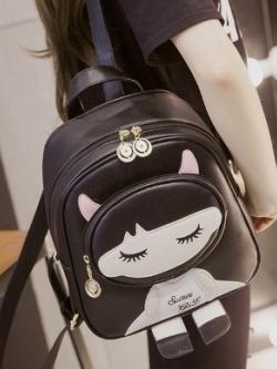 กระเป๋าเป้ หนังใบเล็กสีดำ แต่งลายเด็กผู้หญิง น่ารัก