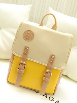 กระเป๋าเป้ สไตล์เกาหลี สีเหลืองครีม น่ารักมากๆ