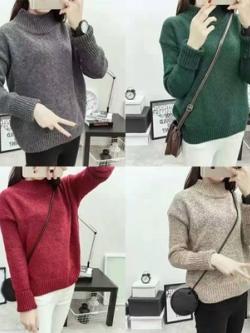 Sweater เสื้อไหมพรมถักคอตั้ง เก๋ๆ ไหมพรมนุ่มยืดได้เยอะ
