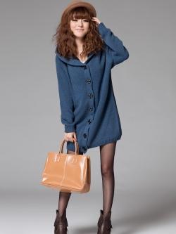 เสื้อกันหนาวฮู้ดดี้ แฟชั่นเกาหลี ผ้าถัก ด้านในเป็นขนนิ่มตัวยาว คุณภาพดี เนื้อผ้าตามแบบ พร้อมส่ง สีกรมท่า