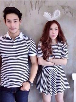 ชุดคู่รัก พร้อมส่ง ลายขวางขาวดำ (เสื้อ+ชุดเสื้อกระโปรง) น่ารักมากๆ ราคาเป็นคู่แล้วค่ะ