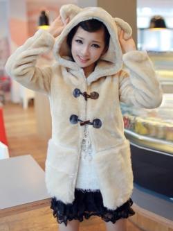 พร้อมส่ง - เสื้อกันหนาวฮู้ดดี้ หมีขนฟู มีหาง น่ารัก เหมือนแบบเป๊ะๆ