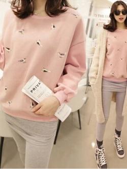 เสื้อแขนยาว สีชมพู แต่งลายนก น่ารัก ผ้าดีมาก น่ารักฝุดๆ พร้อมส่งเลยจ้า