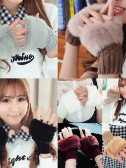 ถุงมือไหมพรม แต่งขนเฟอร์ กันหนาวน่ารักๆ พร้อมส่ง