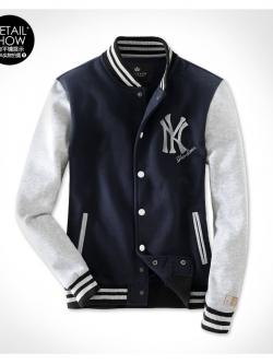 เสื้อเบสบอล Macfion ลาย NY สีกรมเทา ใส่ได้ทั้งผู้ชายและผู้หญิง