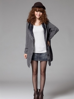 เสื้อกันหนาวฮู้ดดี้ แฟชั่นเกาหลี ผ้าถัก ด้านในเป็นขนนิ่มตัวยาว คุณภาพดี เนื้อผ้าตามแบบ พร้อมส่ง สีเทา