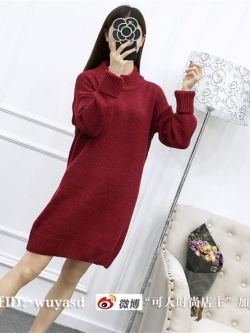 Sweater สีแดง เสื้อไหมพรมถักยาว 27.5 นิ้ว ใส่ตัวเดียวเป็นมินิเดรสได้เลย เก๋ๆ ไหมพรมนุ่มยืดได้เยอะ
