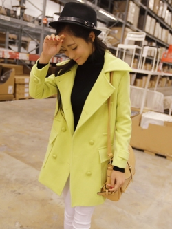 Korean hot double-breasted long-sleeved coat โค้ททรงสวยสีเขียวนีออน แบรนด์ RJ STORY แท้ พร้อมส่ง