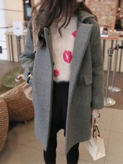 เสื้อโค้ทกันหนาว สีเทา ทรงสวย ใส่ได้หลายแบบ ผ้าดีบุซับในกันลม