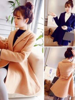 เสื้อโค้ทกันหนาว ทรงหวานๆ สไตล์เกาหลี ผ้าวูผสมสำลี เนื้อไม่บาง บุซับในกันลม