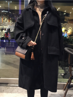 OverCoat เสื้อโค้ทกันหนาว สไตล์เกาหลี แต่งดีเทลเยอะ ทรงโคล่งสีดำ ผ้าวูลผสมเนื้อดี บุซับในกันลม พร้อมส่ง