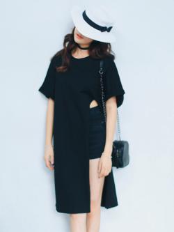 เสื้อแฟชั่นตัวยาว สีดำ แต่งผ่าด้านข้าง สไตล์เกาหลี ใส่ออกมาแล้วแนวมากจ้า พร้อมส่งน้า