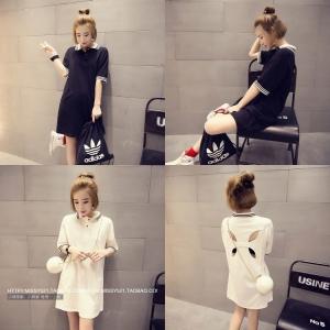 Dress3815 งานนำเข้าสไตล์เกาหลี โปโลเดรสคอปก ผ้าคอตตอนเนื้อนุ่มสีพื้น แต่งด้านหน้าหลังเซ็กซี่เล็กน้อย ผ้าเนื้อดีสวยยืดหยุ่นได้เยอะ ขนาด Free Size **งานเหลือสีดำสีเดียวค่ะ