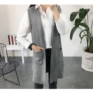 Blouse3519 เสื้อคลุมไหมพรมตัวยาวสีพื้น งานถักเนื้อแน่นสวย ผ้านุ่มมีน้ำหนักทิ้งตัว งานดีใส่ได้ทุกโอกาส มี 2 สี เทา ดำ