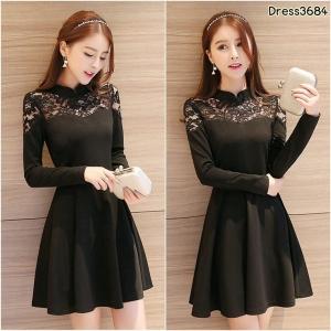 Dress3684 ชุดเดรสทรงสวยสีพื้นดำ แขนยาว อกลูกไม้เซ็กซี่เบาๆ ซิปหลังใส่ง่าย ผ้าหนาเนื้อดีมีน้ำหนักทิ้งตัวสวย งานดีทรงสวยเรียบหรู ใส่ทำงาน/ออกงานได้ ชุดเดียวสวยจบแนะนำเลยจ้า